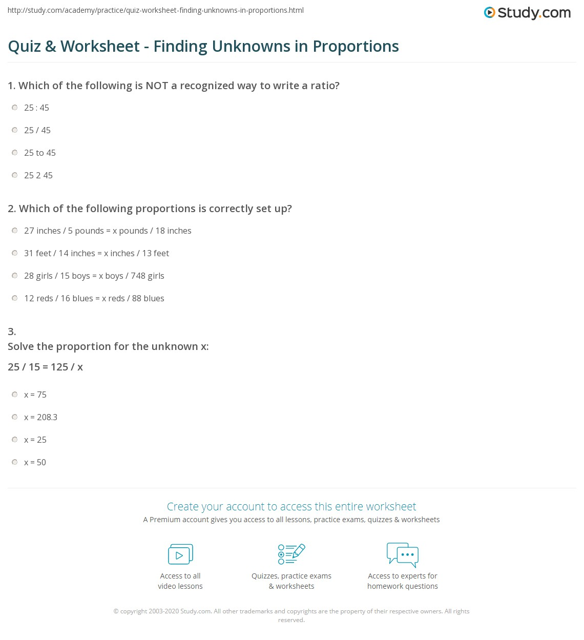 Quiz & Worksheet - Finding Unknowns in Proportions | Study.com