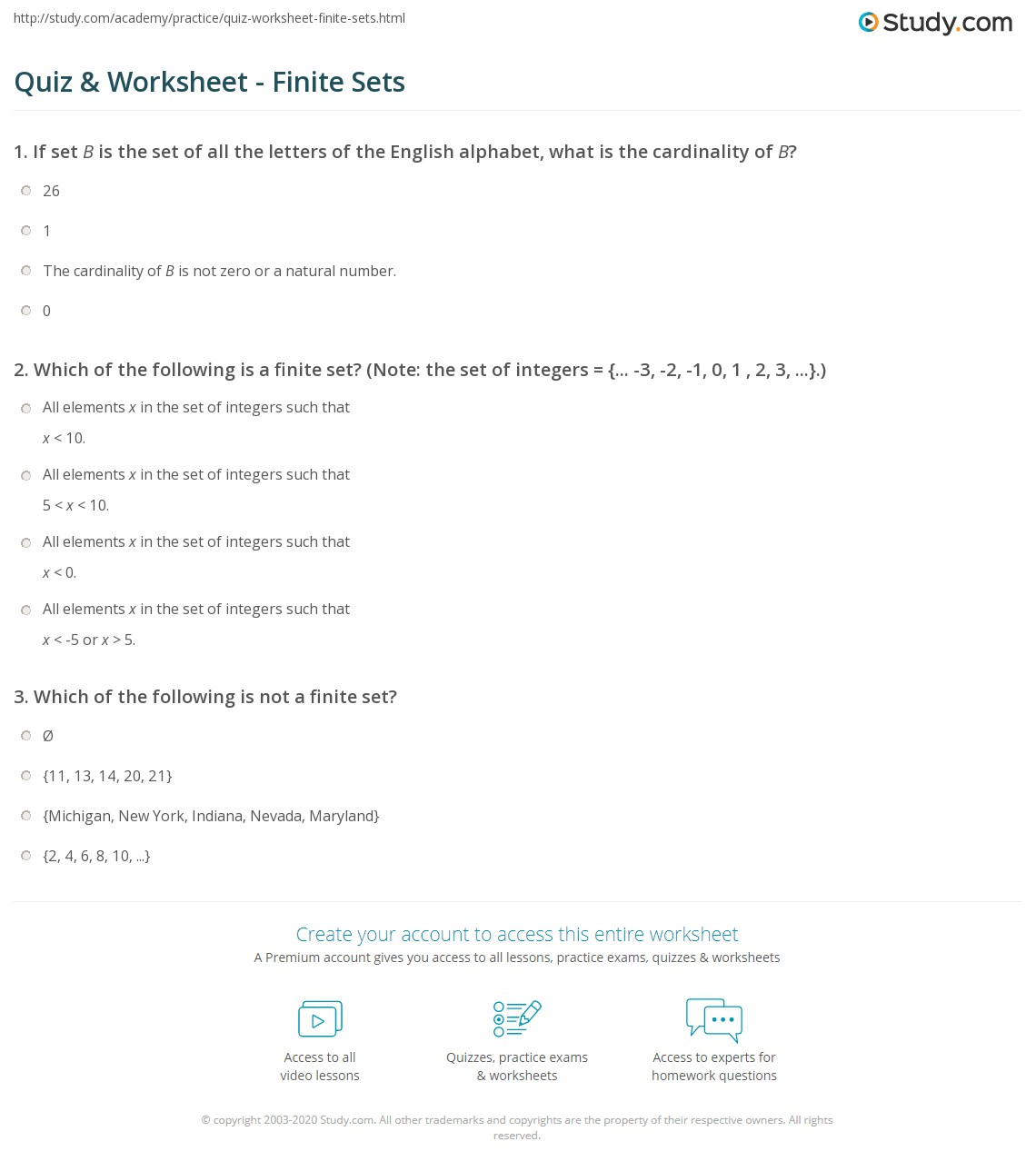 Print Finite Set: Definition U0026 Overview Worksheet