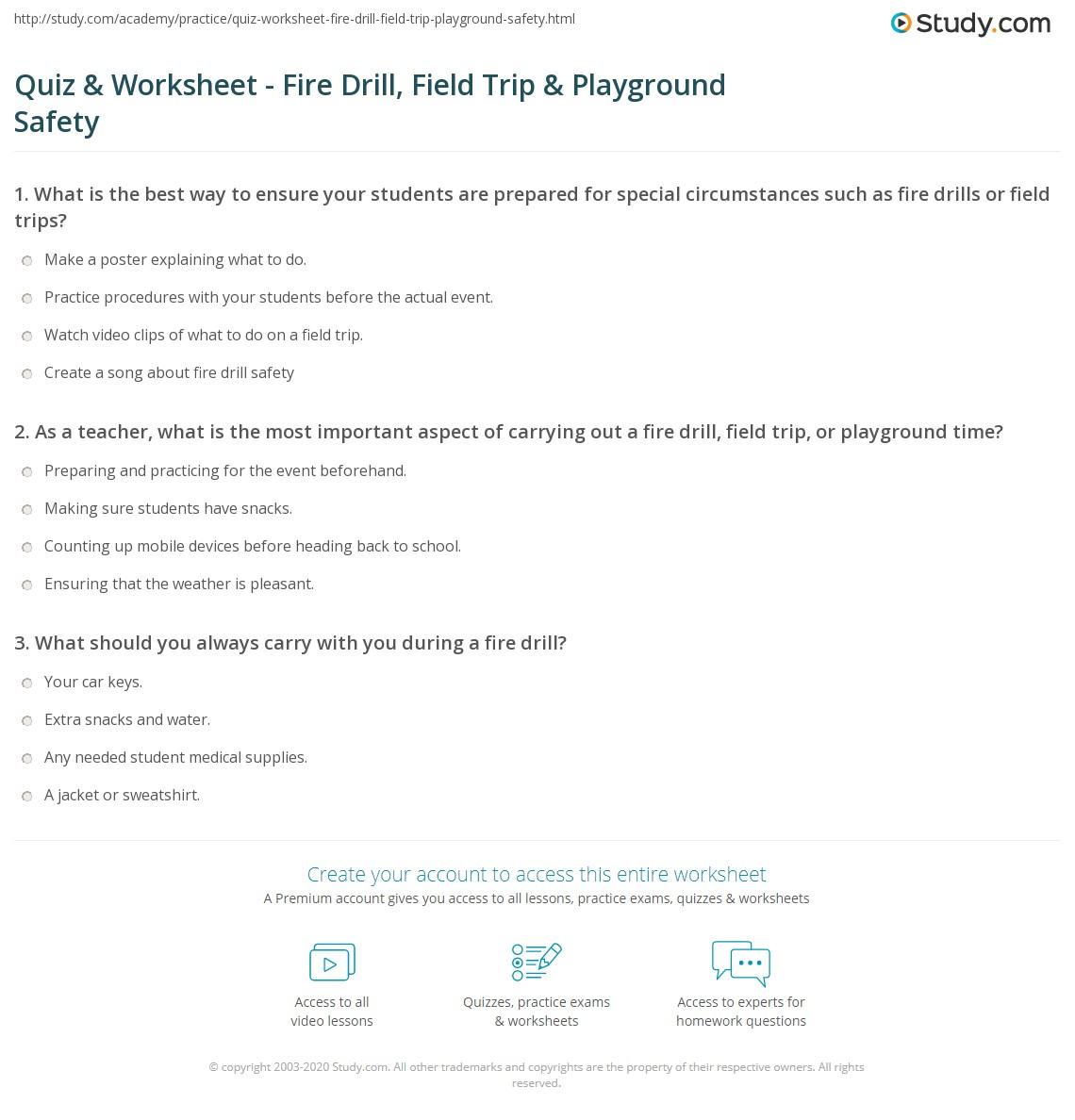 Quiz & Worksheet - Fire Drill, Field Trip & Playground