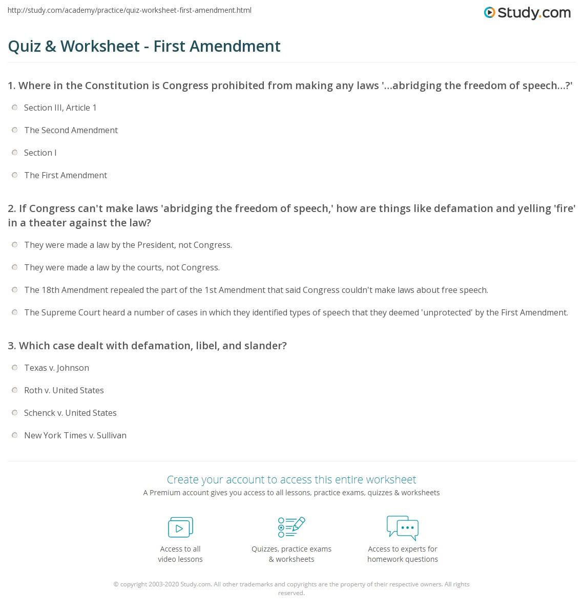 Quiz & Worksheet - First Amendment | Study.com