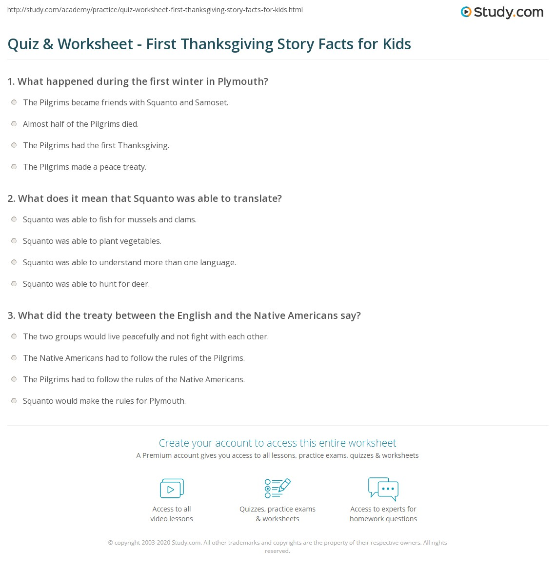 Quiz Worksheet First Thanksgiving Story Facts for Kids Studycom