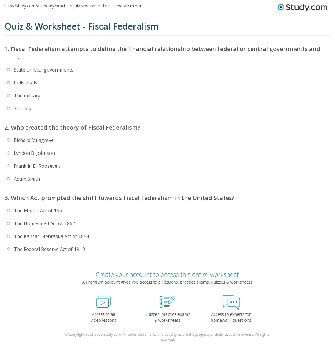 Quiz & Worksheet - Fiscal Federalism | Study.com