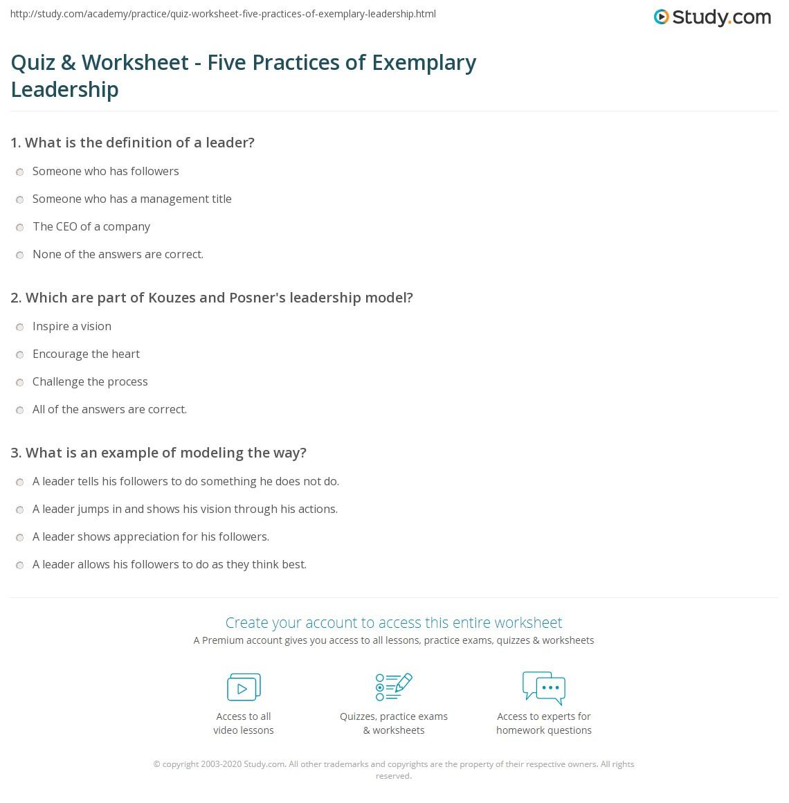 Print Kouzes U0026 Posneru0027s Leadership Model Worksheet