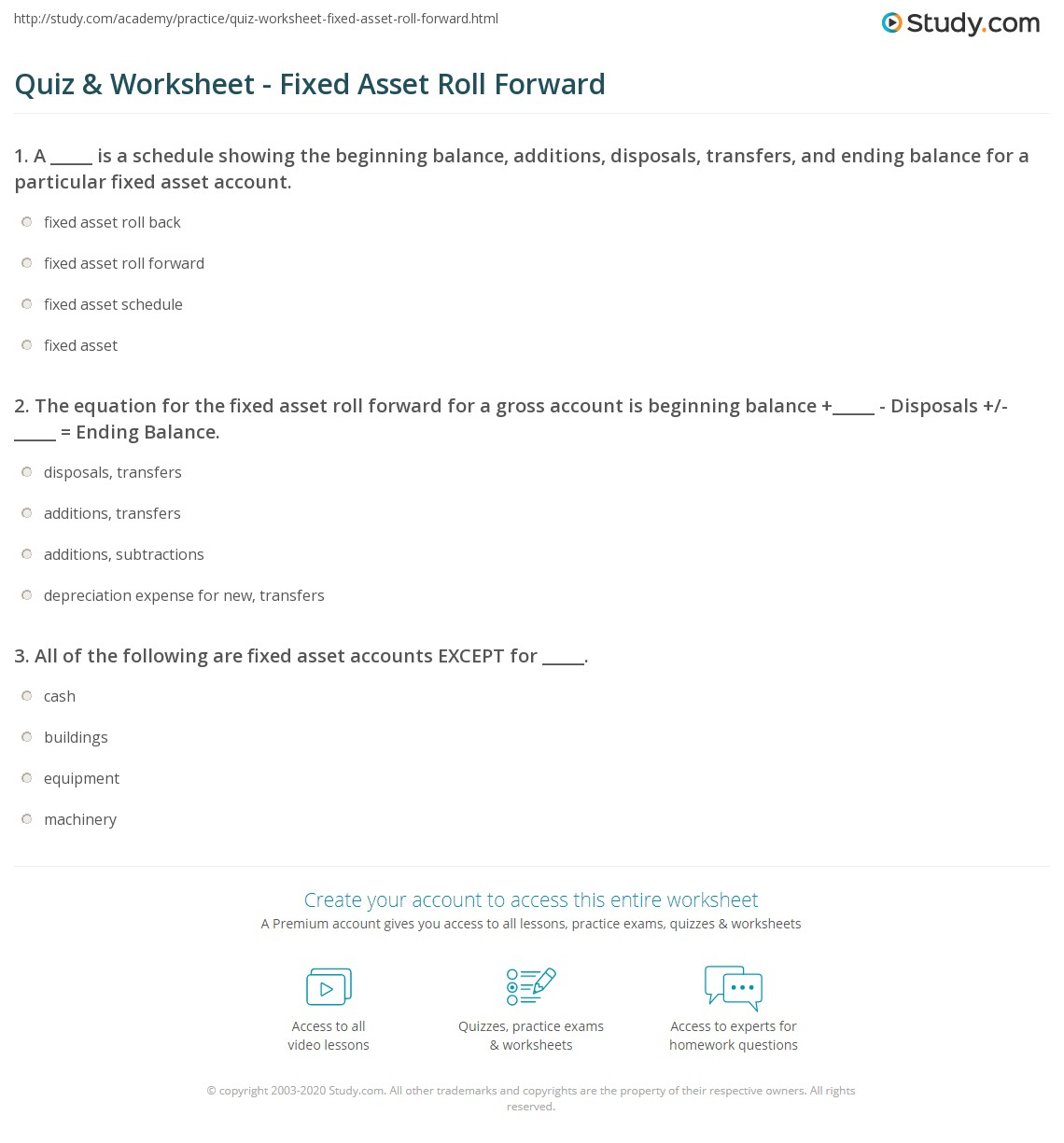 Quiz worksheet fixed asset roll forward for Fixed asset policy template