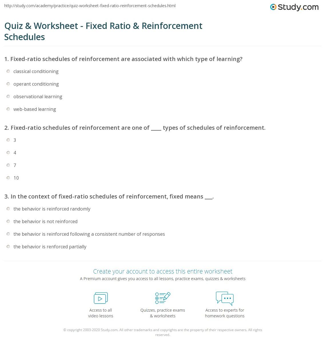 Quiz Worksheet Fixed Ratio Reinforcement Schedules Study Com