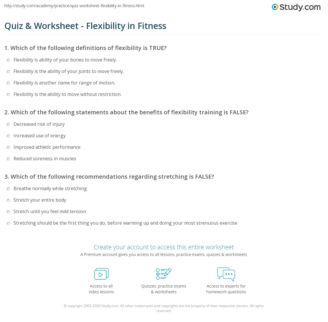 Quiz Worksheet Flexibility In Fitness Study