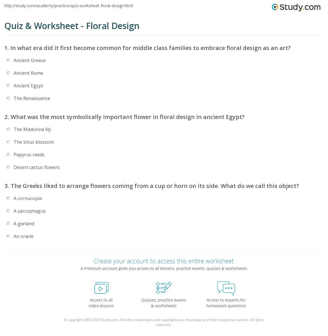 Quiz Worksheet Floral Design Study Com