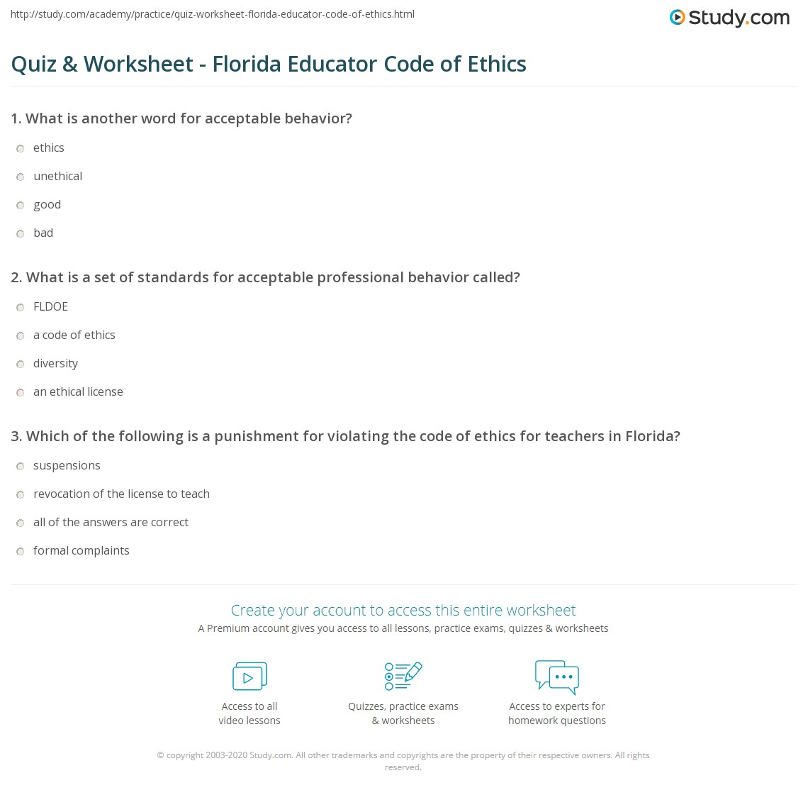 Quiz worksheet florida educator code of ethics study print understanding the florida educator code of ethics worksheet 1betcityfo Gallery