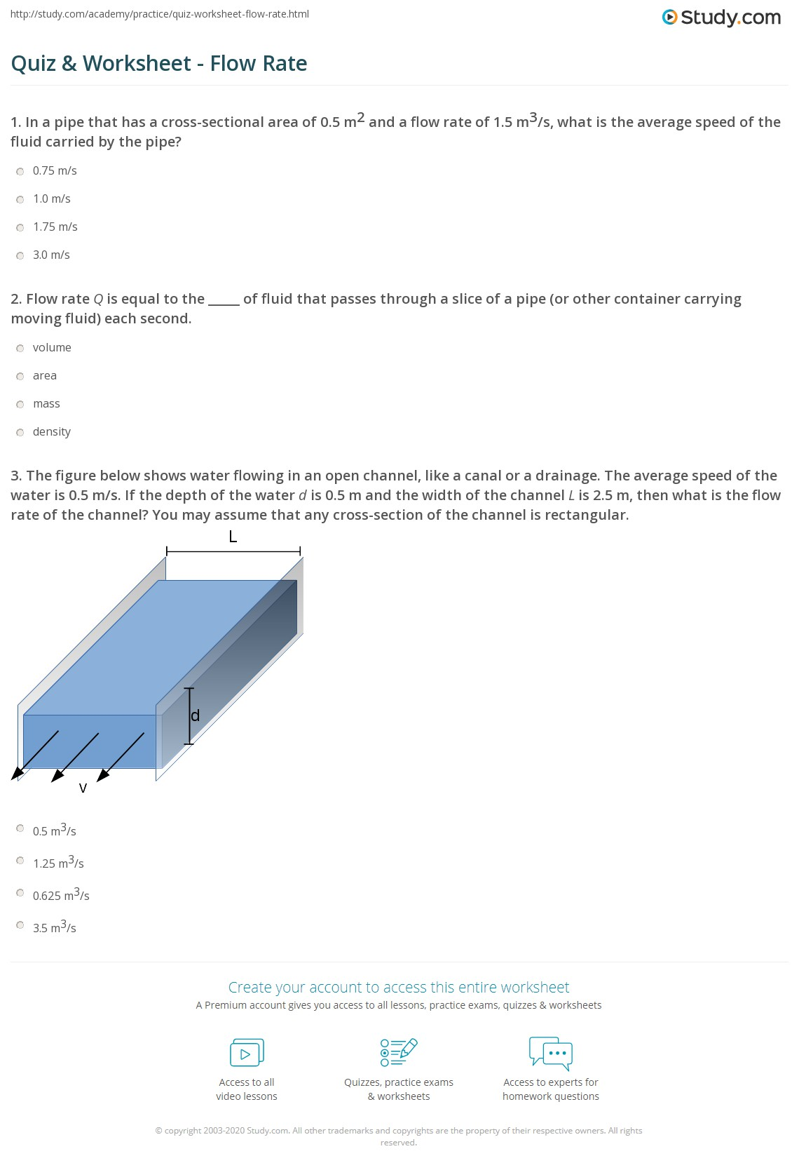 Print Flow Rate: Definition & Equation Worksheet