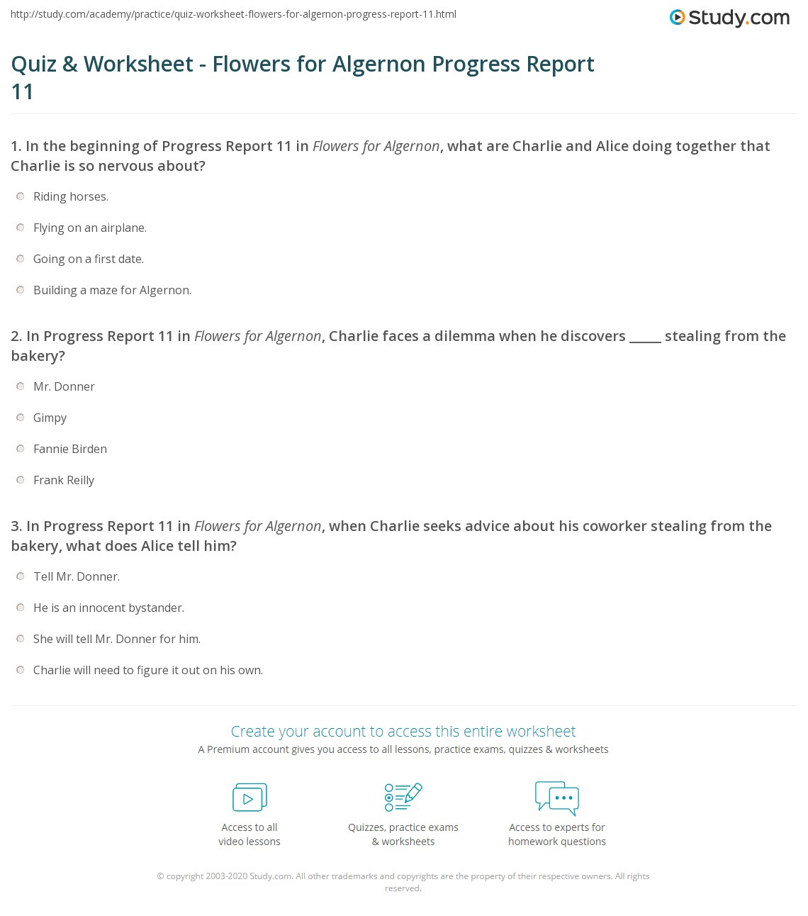 quiz worksheet flowers for algernon progress report com print flowers for algernon progress report 11 summary worksheet