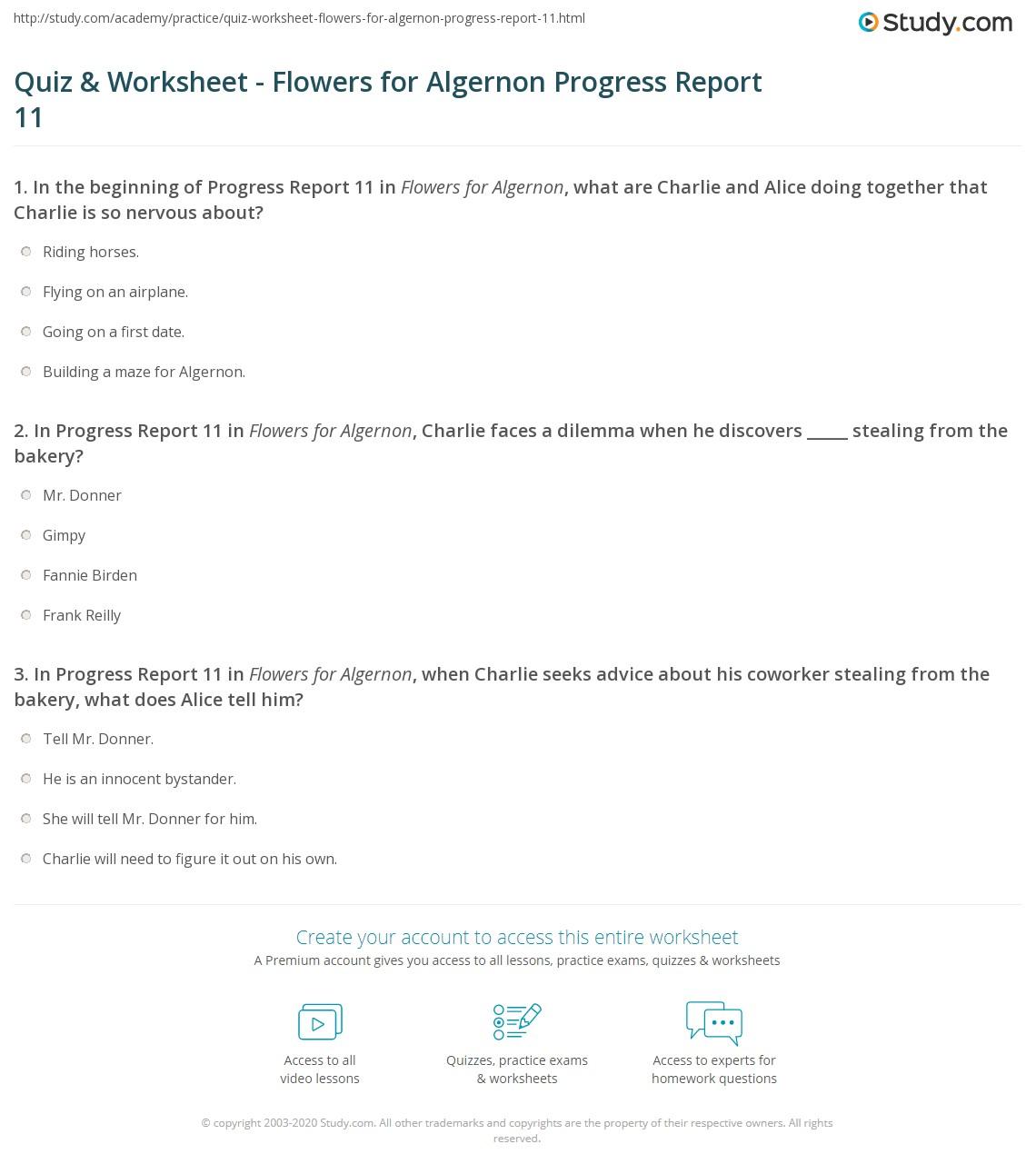 quiz worksheet flowers for algernon progress report com print flowers for algernon progress report 11 summary worksheet