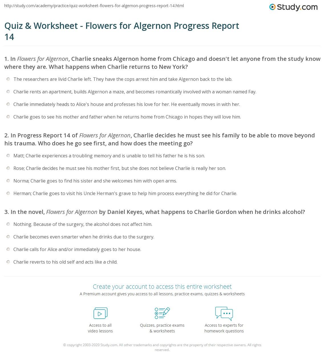 Quiz \u0026 Worksheet , Flowers for Algernon Progress Report 14