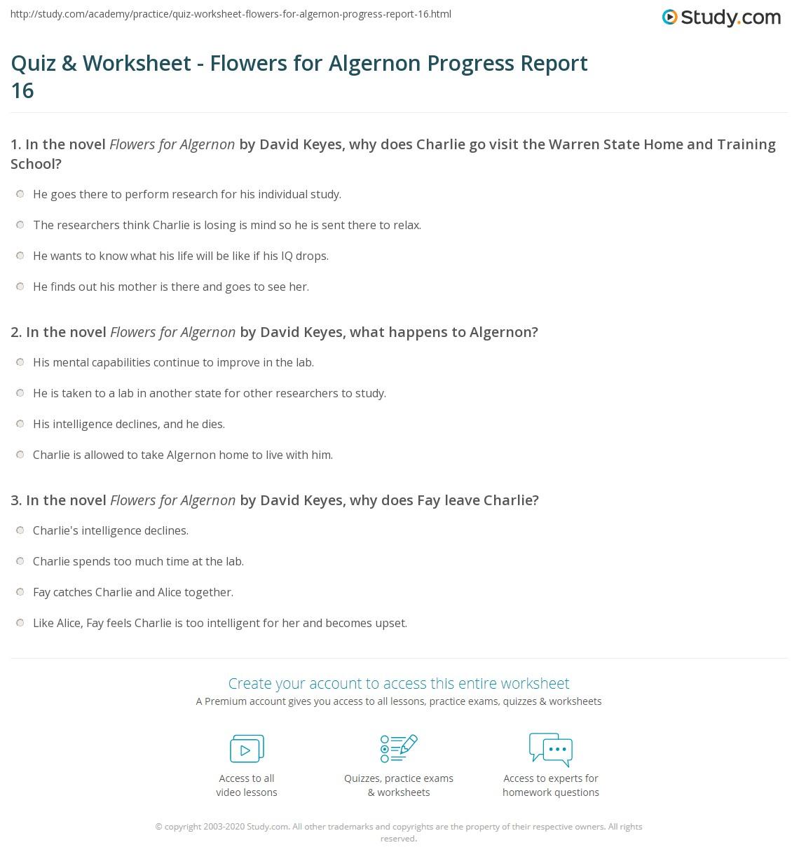Quiz \u0026 Worksheet , Flowers for Algernon Progress Report 16