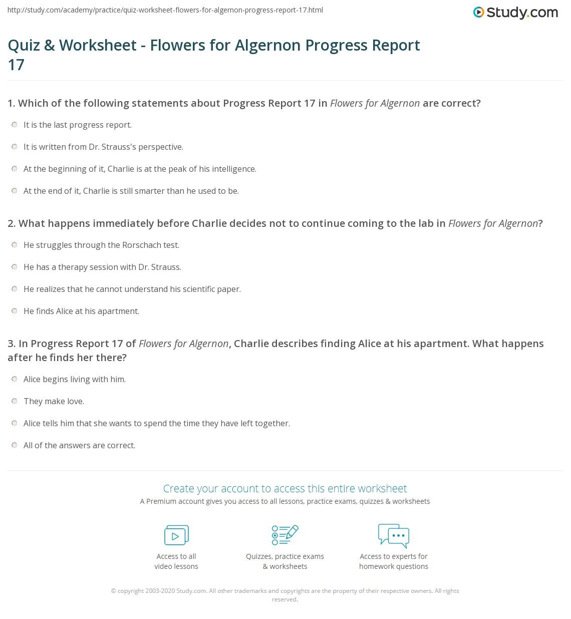 quiz worksheet flowers for algernon progress report com print flowers for algernon progress report 17 summary worksheet