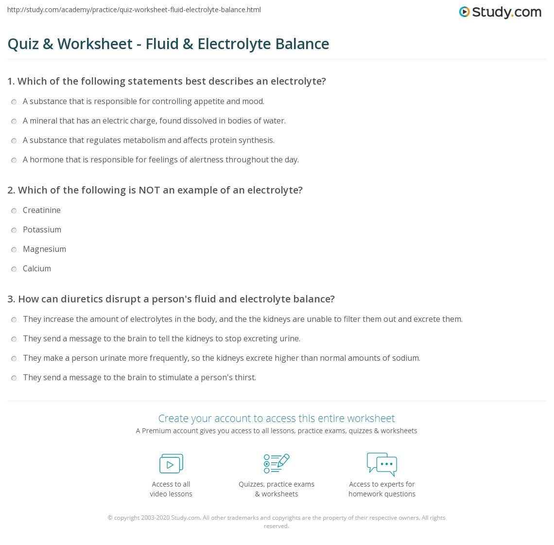 Quiz Worksheet Fluid Electrolyte Balance Study