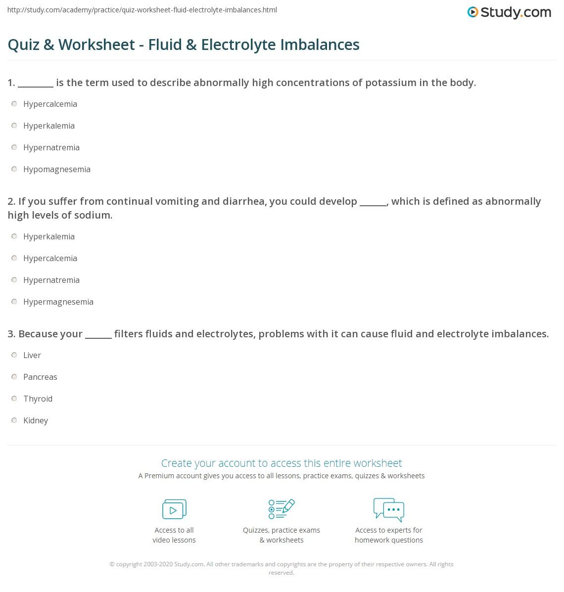 quiz worksheet fluid electrolyte imbalances. Black Bedroom Furniture Sets. Home Design Ideas