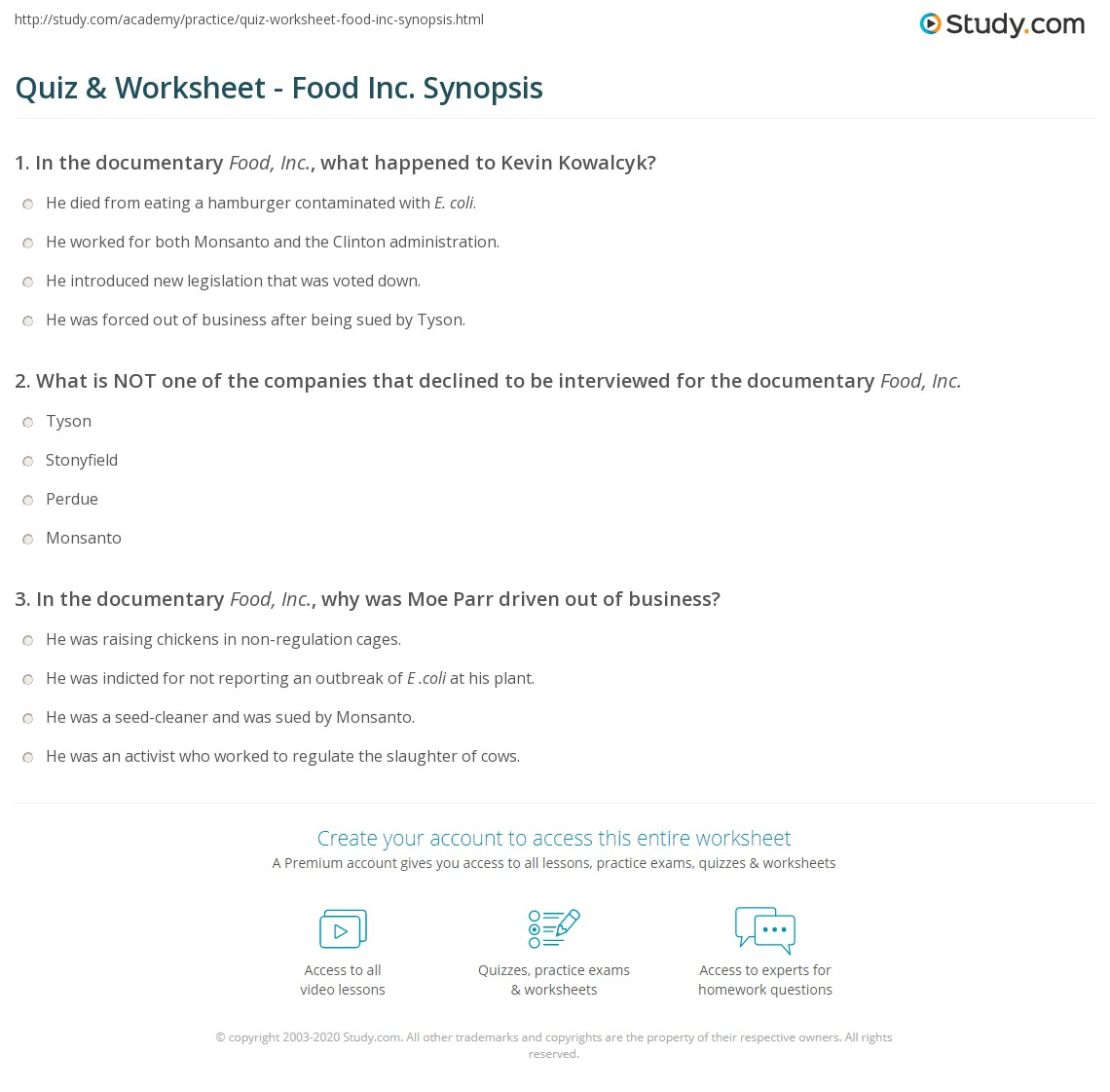 Quiz & Worksheet - Food Inc. Synopsis | Study.com