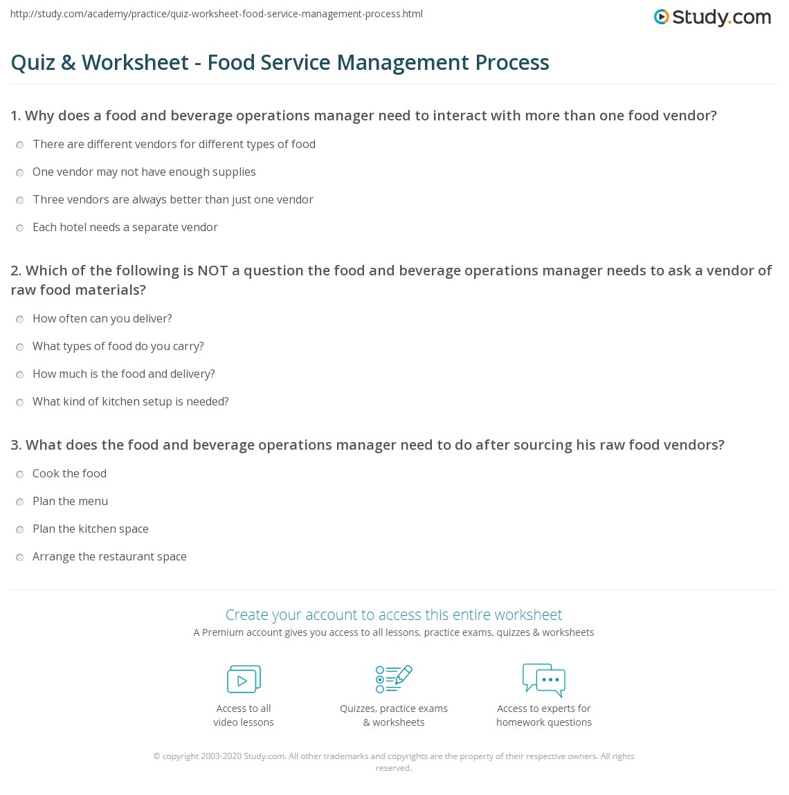 Print Food & Beverage Operations Management: Process & Example Worksheet