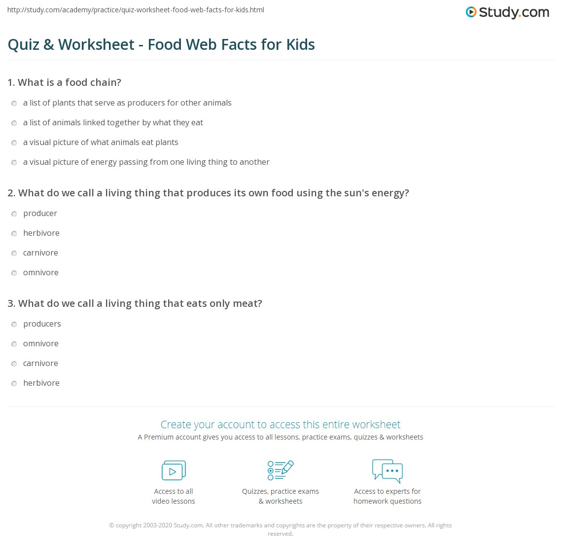 Worksheets Food Webs For Kids Worksheets quiz worksheet food web facts for kids study com print lesson definition examples worksheet
