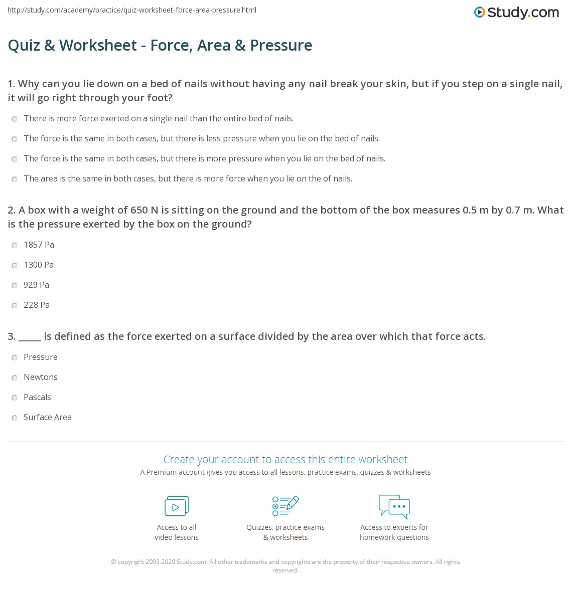 Quiz & Worksheet - Force, Area & Pressure | Study.com
