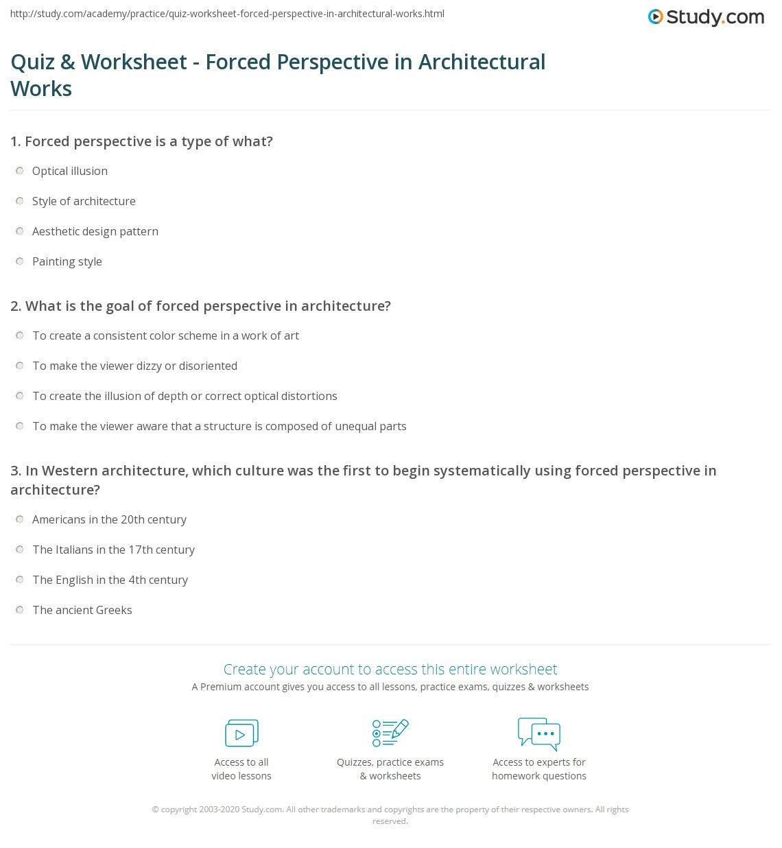 Print Forced Perspective In Architecture Worksheet