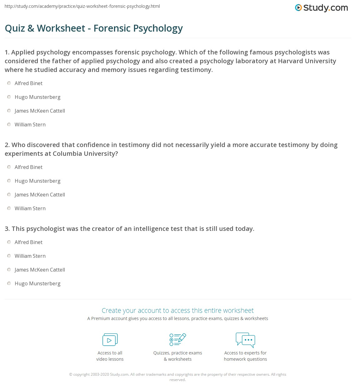 Quiz Worksheet Forensic Psychology Study Com