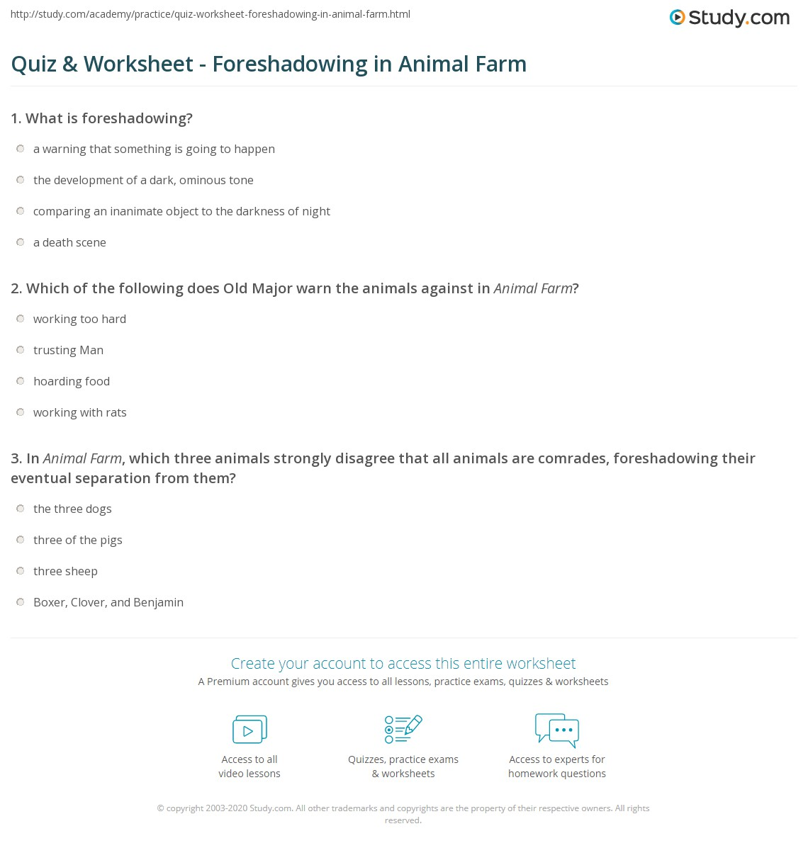 Worksheets Foreshadowing Worksheets quiz worksheet foreshadowing in animal farm study com print worksheet