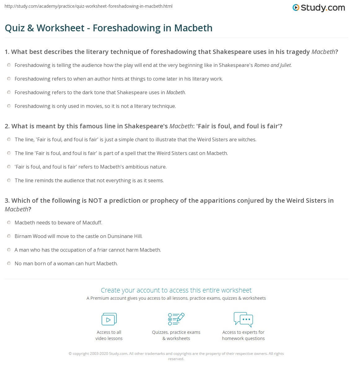 Quiz Worksheet Foreshadowing in Macbeth – Foreshadowing Worksheets