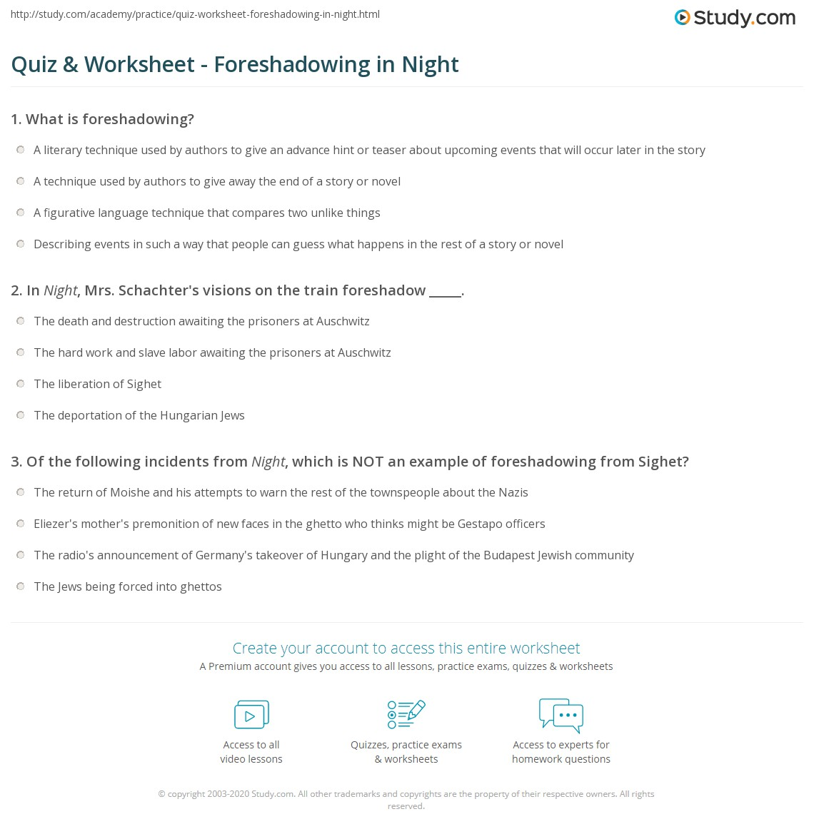 Night By Elie Wiesel Quotes With Page Numbers Pleasing Quiz & Worksheet  Foreshadowing In Night  Study
