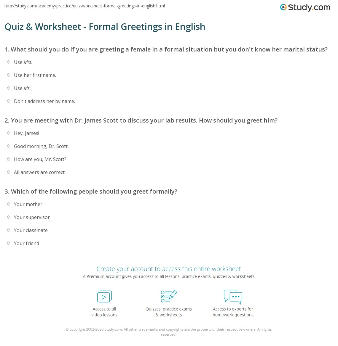 Quiz worksheet formal greetings in english study print formal greetings in english worksheet m4hsunfo