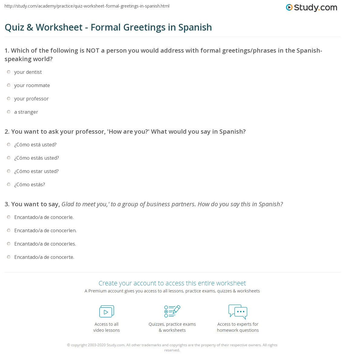 Quiz worksheet formal greetings in spanish study print formal greetings in spanish words phrases worksheet m4hsunfo