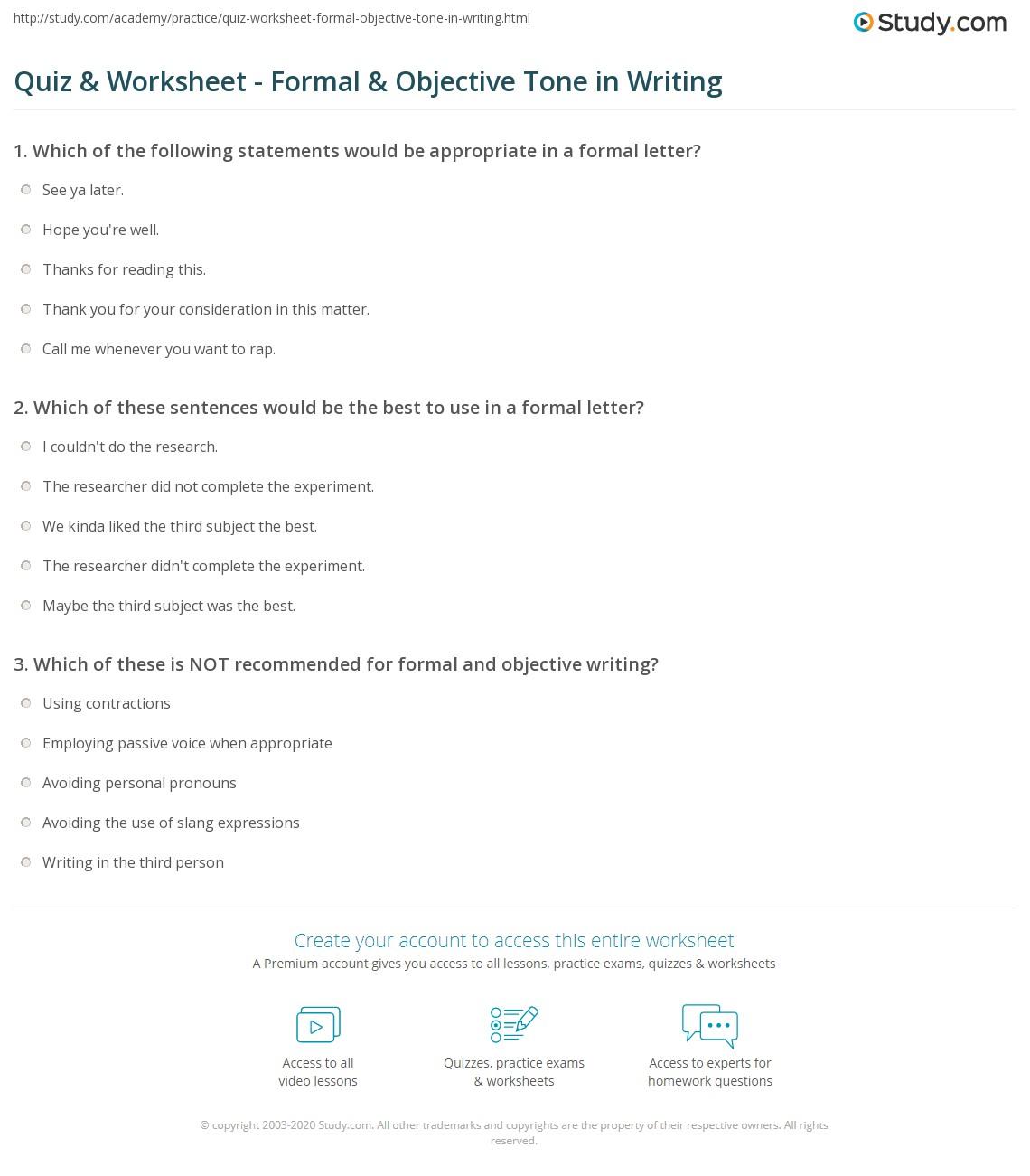 Quiz worksheet formal objective tone in writing study print writing in a formal objective tone worksheet ibookread ePUb