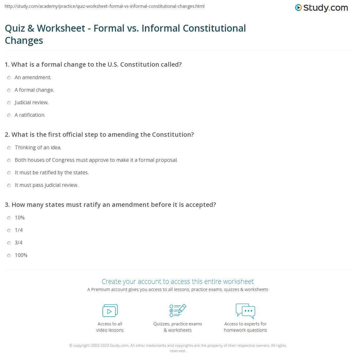 Formal amendment worksheet answers