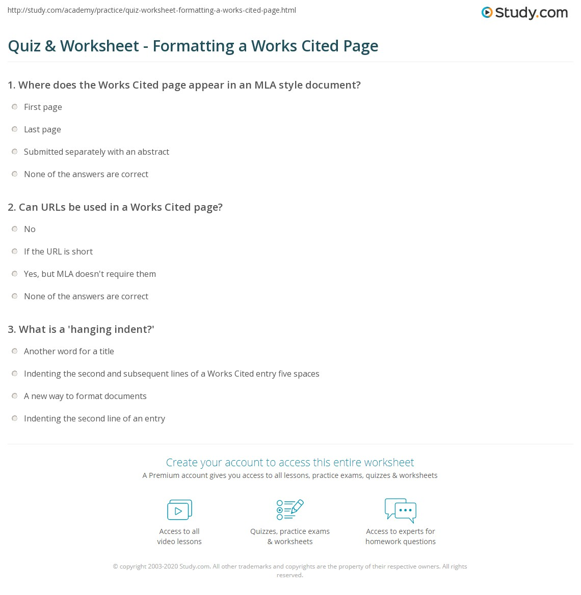 quiz worksheet formatting a works cited page study com