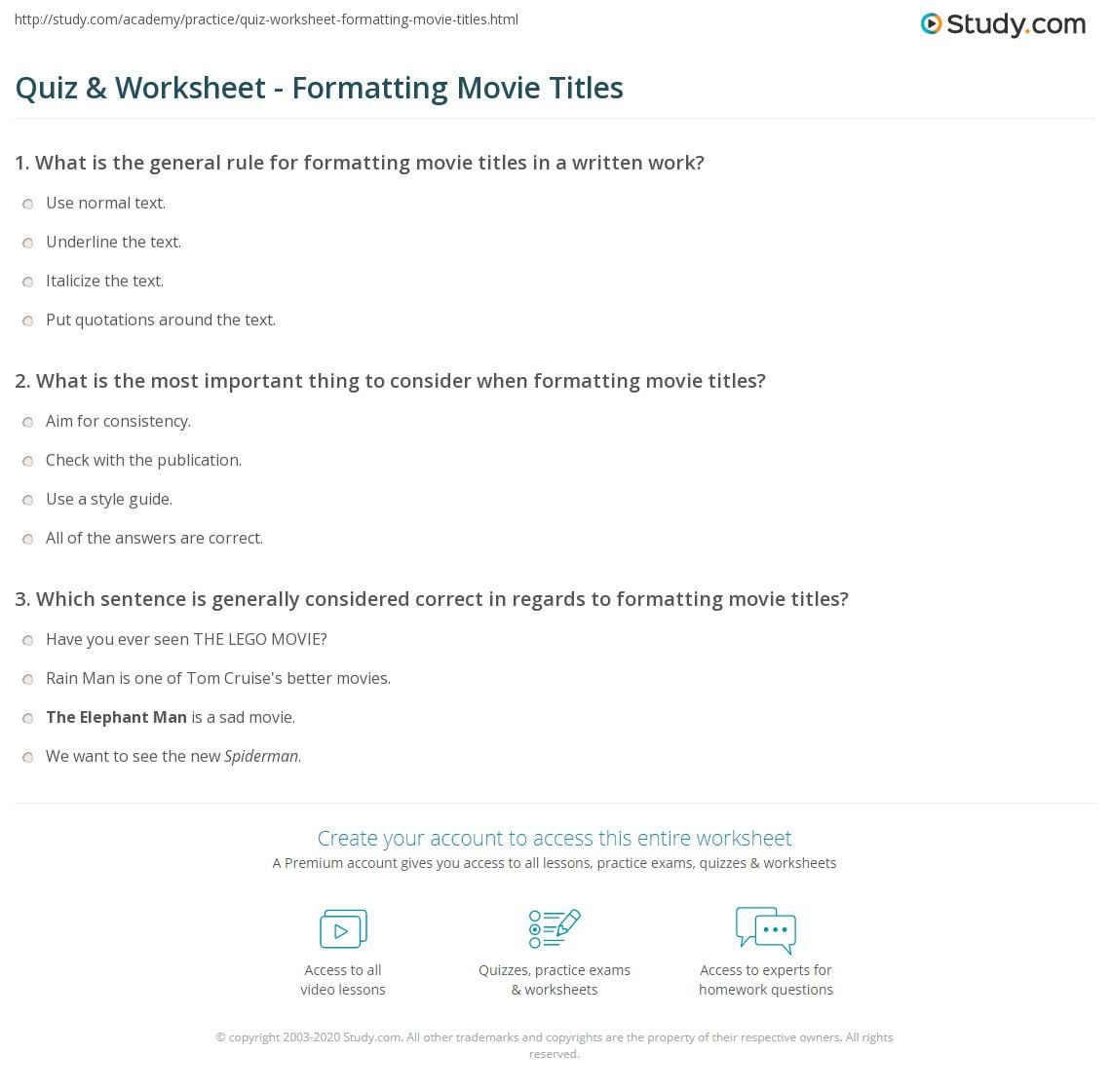 Quiz & Worksheet - Formatting Movie Titles | Study com
