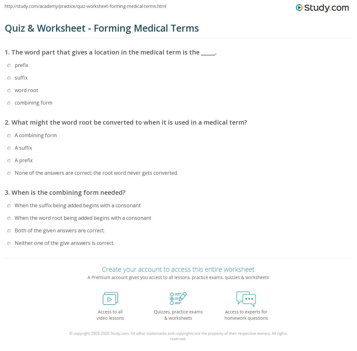 quiz worksheet forming medical terms study com