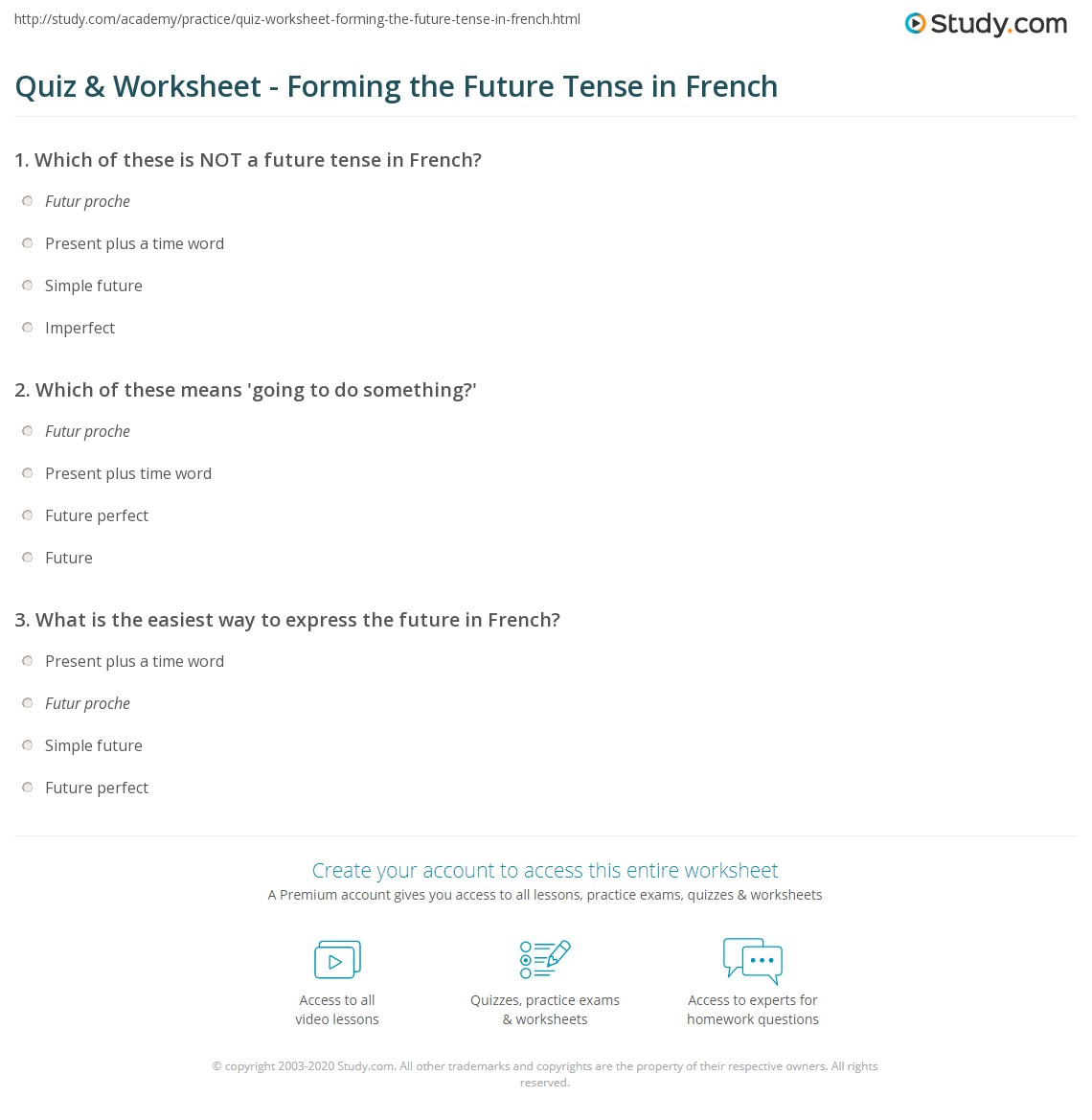 3a4929a5a Quiz & Worksheet - Forming the Future Tense in French | Study.com
