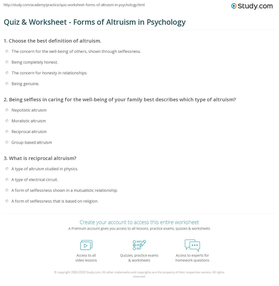 reciprocal altruism psychology