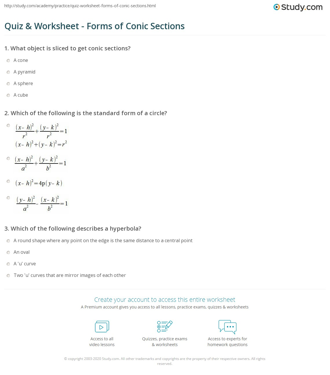 Quiz worksheet forms of conic sections study which of the following is the standard form of a circle falaconquin