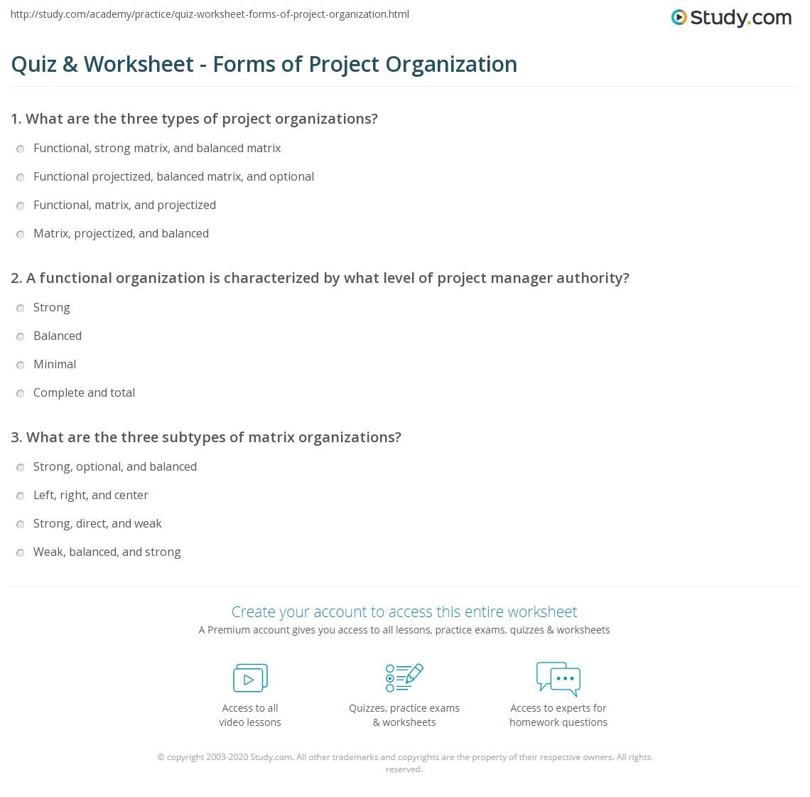 Print Project Organization: Definition \u0026 Types Worksheet