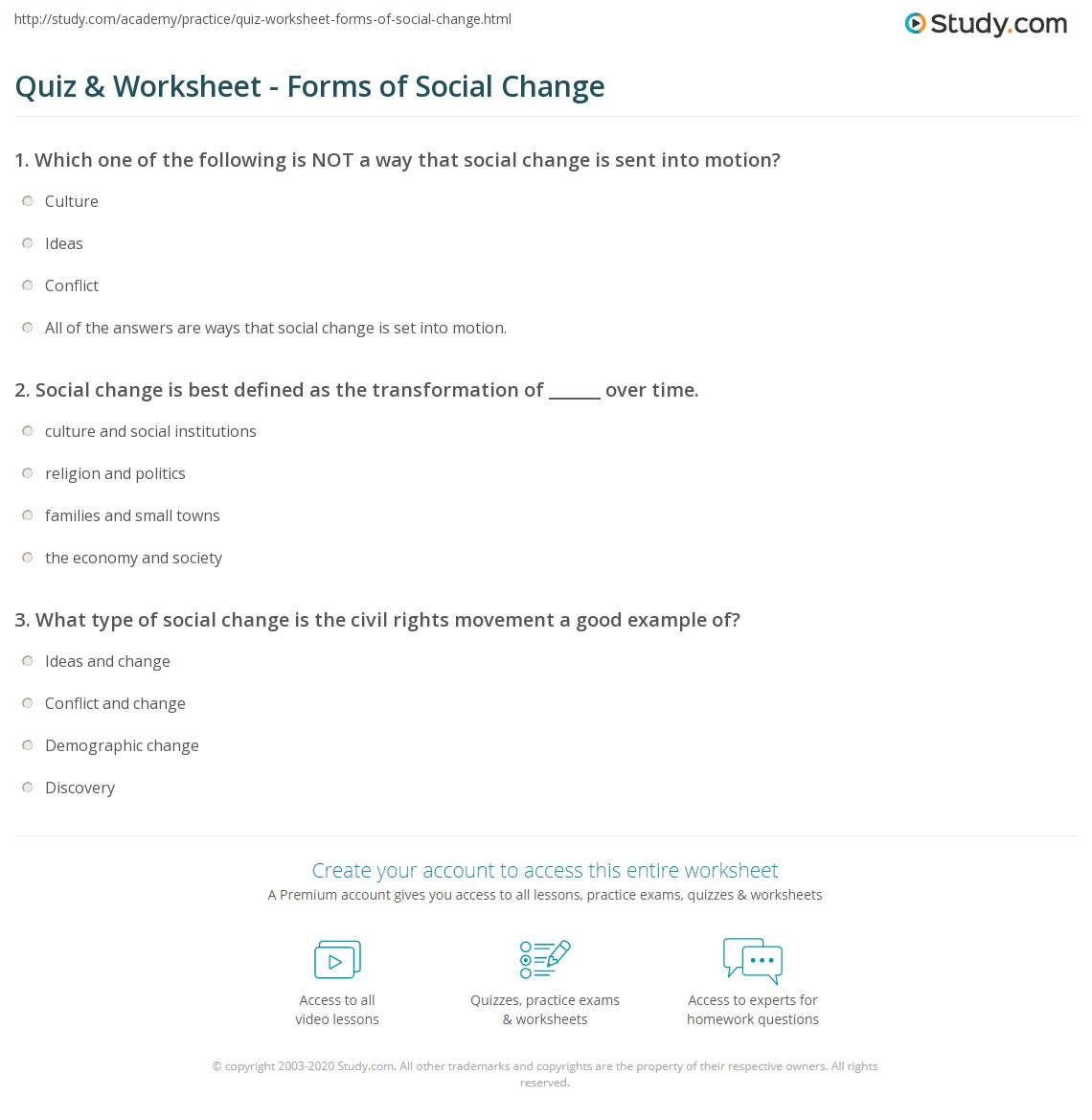 Quiz Worksheet Forms Of Social Change Study