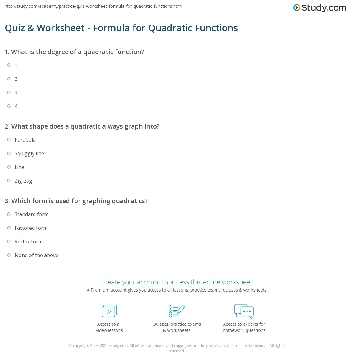 Quiz & Worksheet - Formula for Quadratic Functions | Study.com