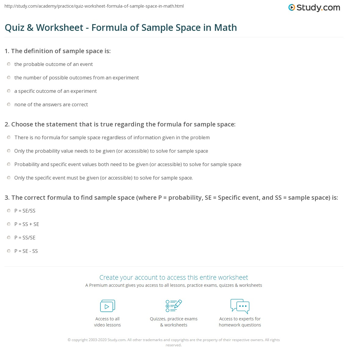 Worksheets Sample Space Worksheet quiz worksheet formula of sample space in math study com print worksheet