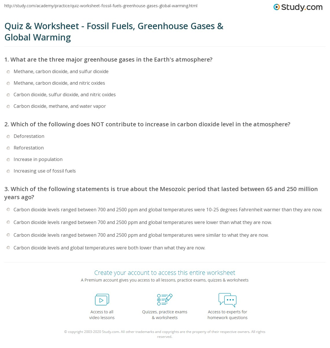 Quiz & Worksheet - Fossil Fuels, Greenhouse Gases & Global Warming ...