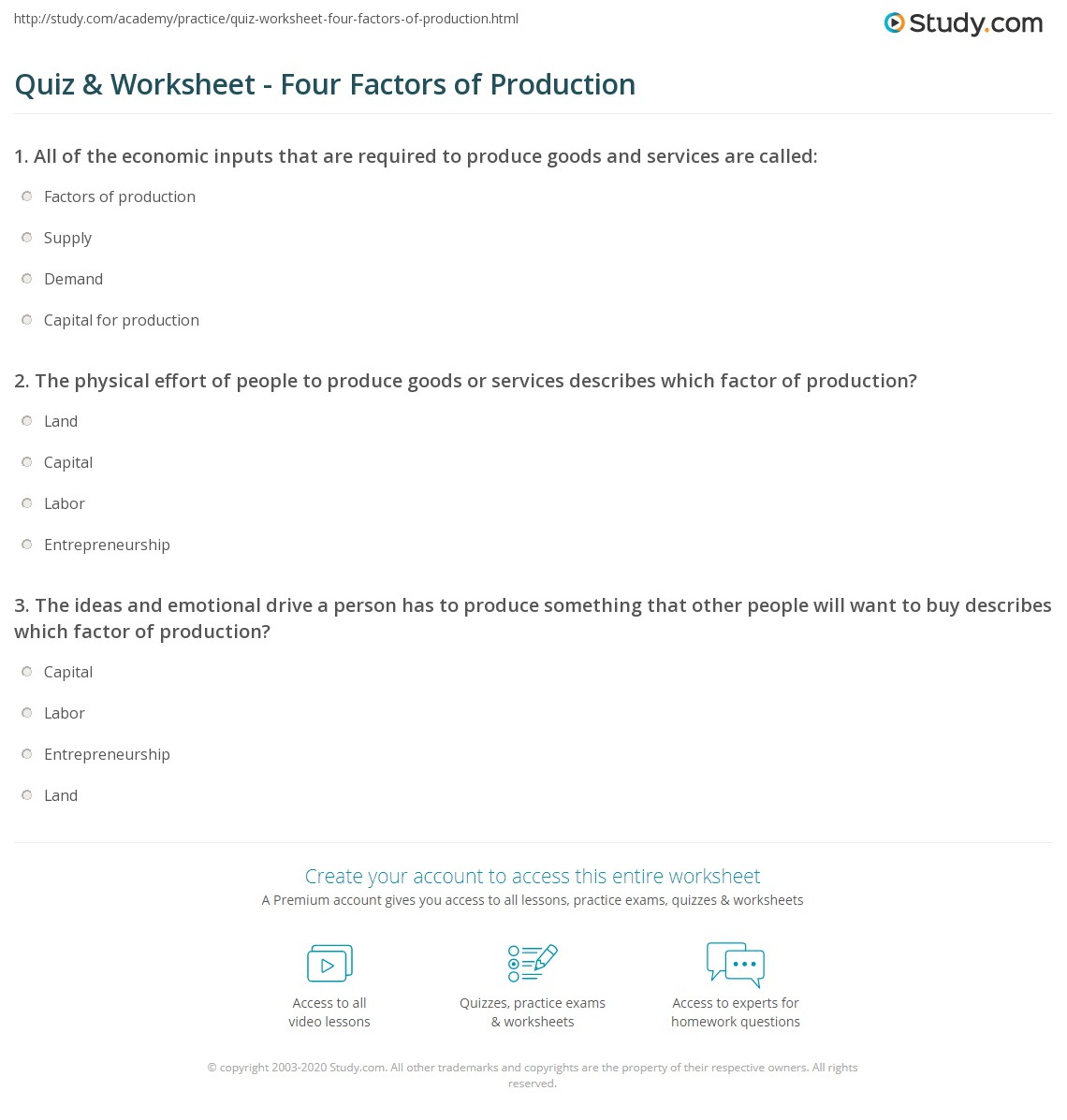access to factors of production