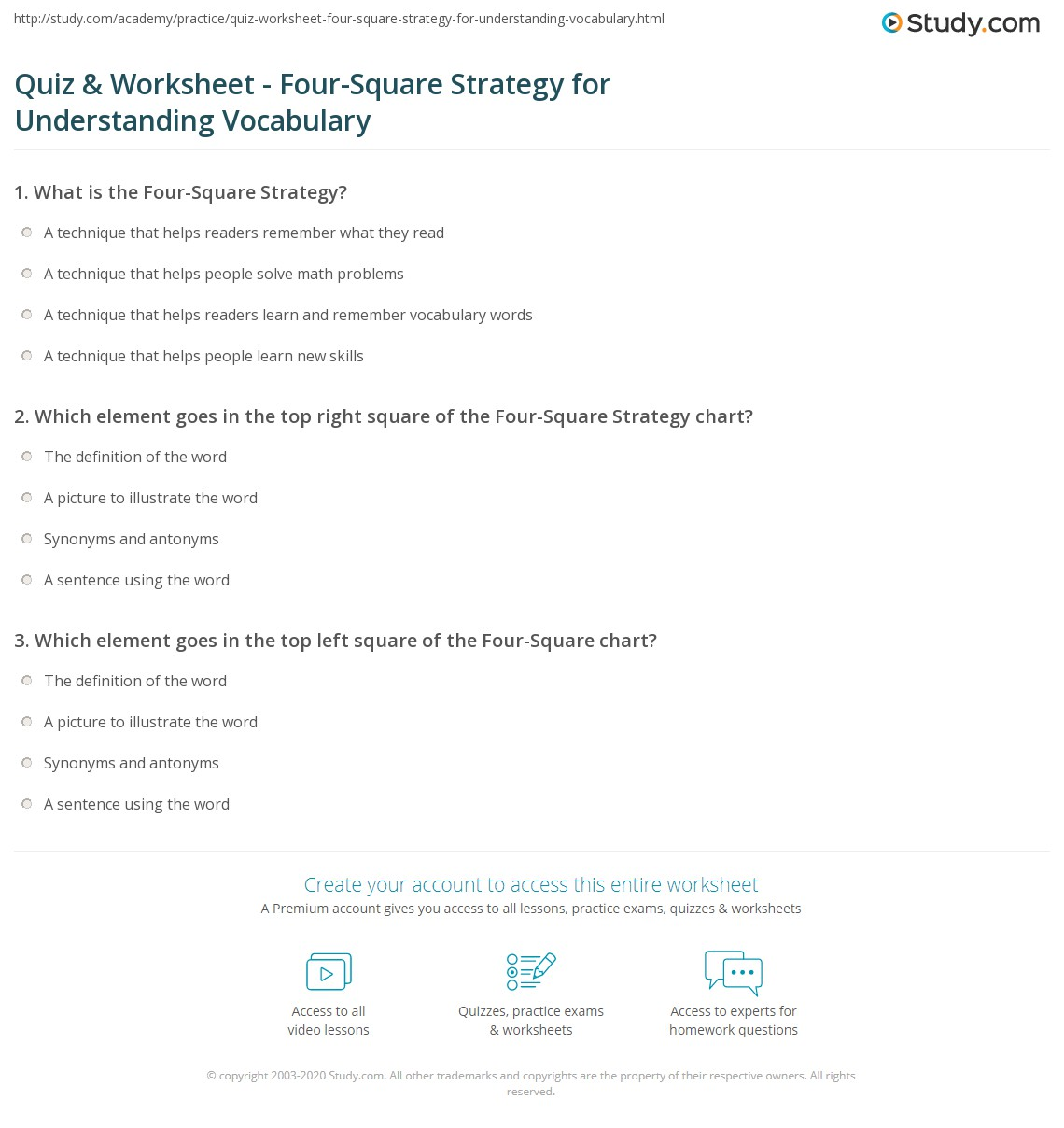 Quiz Worksheet Four Square Strategy For Understanding Vocabulary