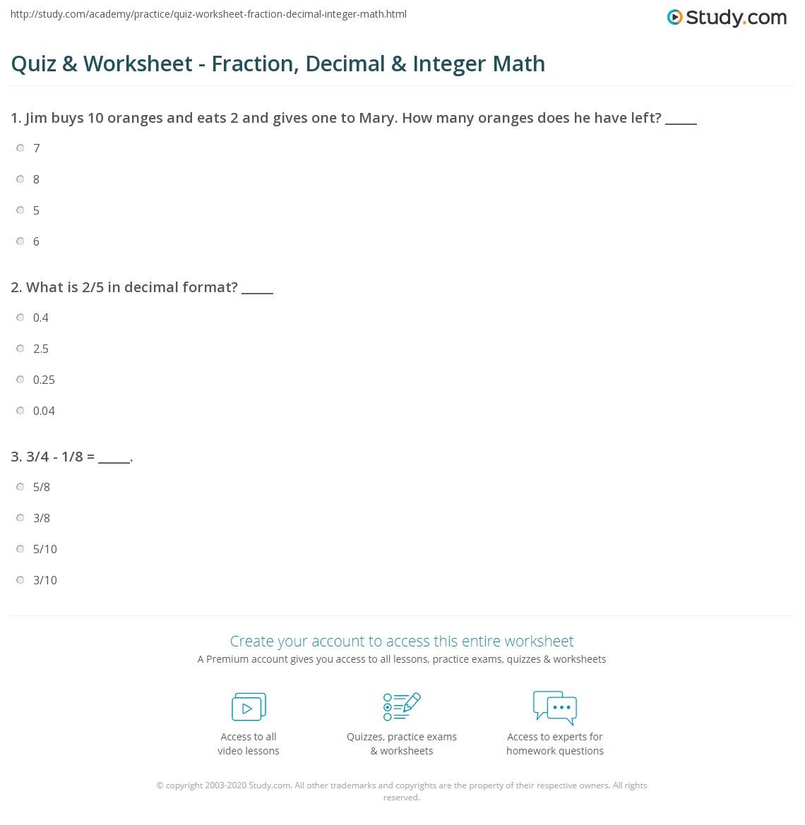 Worksheets Integer Worksheet quiz worksheet fraction decimal integer math study com print arithmetic operations fractions decimals integers worksheet