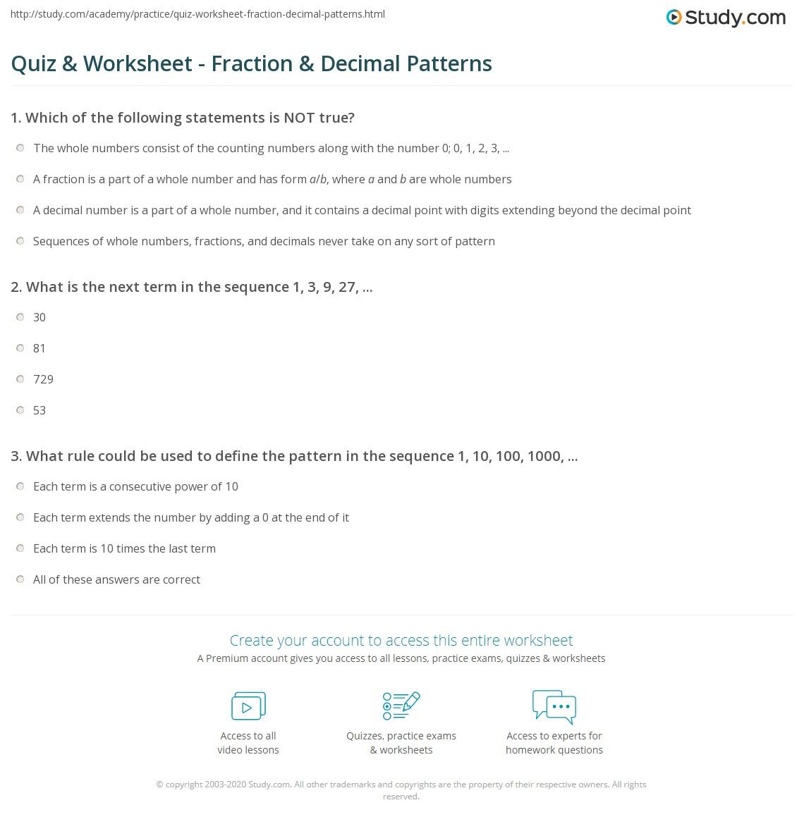 Workbooks sequencing numbers worksheets : Quiz & Worksheet - Fraction & Decimal Patterns | Study.com