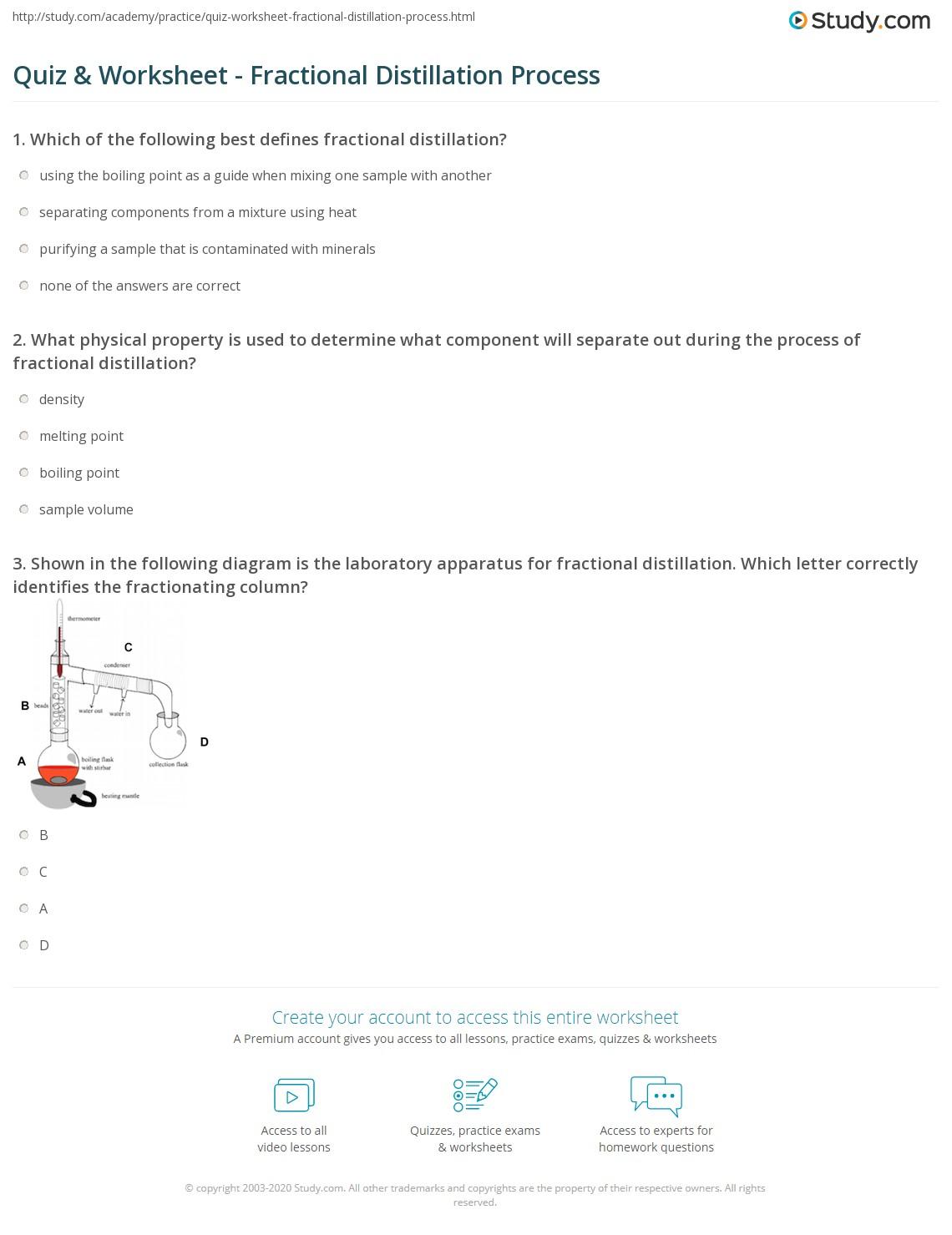 Quiz and Worksheet Fractional Distillation Process – Fractional Distillation Worksheet
