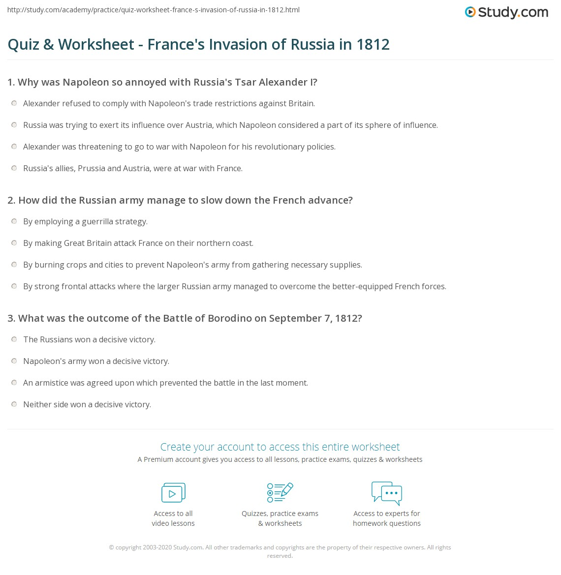 quiz worksheet france 39 s invasion of russia in 1812. Black Bedroom Furniture Sets. Home Design Ideas